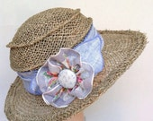 Ladies Straw Sun Hat - Travel Hat - Seagrass and Linen and Vintage Hanky Flower - Suitcase Sarah