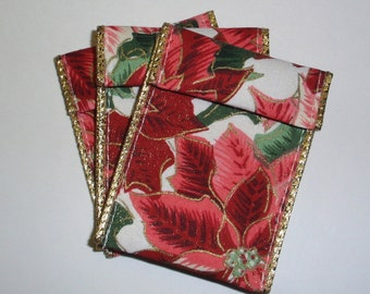 Jewelry Bead Pouches - 10 Poinsettia Gold Lined Ribbon