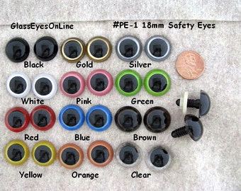 11 PAIR 16mm or 18mm or 21mm or 24mm  Plastic Safety Eyes Mix Colors for Puppets, Dolls, Teddy Bears, crochet, sewing projects ( PE-1 )