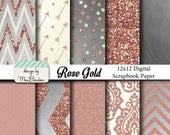 Rose Gold Digital Paper Backgrounds Pack - 12x12  -Rose, Cream, Silver, Metallic- INSTANT DOWNLOAD