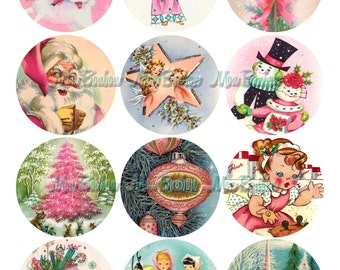 Vintage Retro Christmas 2.5 inch Circles for Tags,Cupcake Toppers, Party Supplies, Scrapbooking - DIY Printables - INSTANT DOWNLOAD