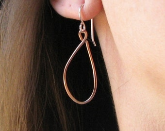 Copper teardrop earrings, mixed metal jewelry, sterling silver earwires, casual earrings under 25.00