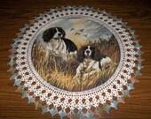 Springer Spaniel Dog Doily Fabric Center Crocheted Edging 20 Inches Centerpiece