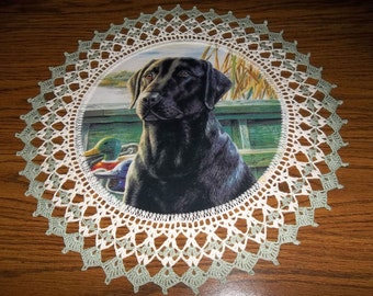 Crochet Doily Black Lab Dog Doily Fabric Center Doily Crocheted Edge 18 inches Centerpiece Table Topper Lace Doily Handmade Gift