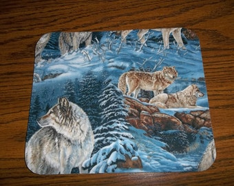 Mouse Pad Wolves in the Wilderness Rectangle Round or Heart Shaped Mat