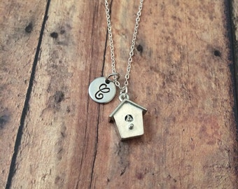 Birdhouse initial necklace - bird house necklace, bird jewelry, garden necklace, aviary necklace, silver bird house necklace