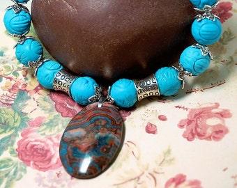 Turquoise Necklace, Jasper Pendant, Ladies 21 inch Handmade Necklace, Southwestern Style