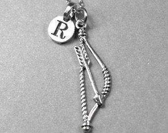Bow and Arrow Necklace, Archery Necklace, initial necklace, silver bow and arrow, personalized jewelry, monogram letter, initial pendant