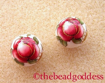New Pair Japanese TENSHA Beads RED Rose on WHITE 12mm