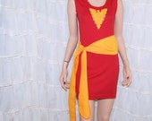 Phoenix Red Gold BodyCon Tank Dress Cosplay Costume Adult All Sizes MTCoffinz