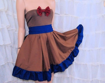 Doctor Bowtie Strapless Brown SunDress Cosplay Costume Adult Small / Large MTCoffinz- Ready to Ship
