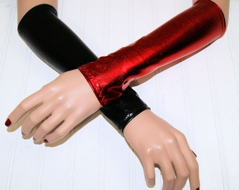 Shiny Black Red Foil Harley Quinn Arm Warmers Gloves MTCoffinz