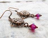 Fuchsia pink Copper earrings small earrings Art Nouveau copper jewelry