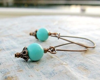 Small Turquoise Earrings Delicate Copper jewelry