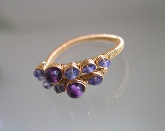 Amethyst and Tanzanite 14k Gold Filled Wire Wrapped Ring
