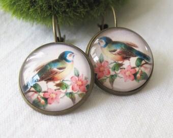 Vintage Blue Bird Print Antique Brass Dangle Earrings