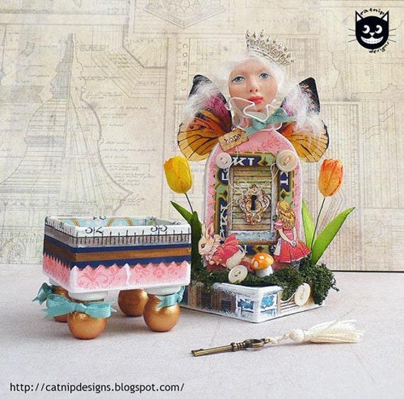 Handmade, OOAK, Alice in Wonderland, White Queen trinket box and shrine to Hope
