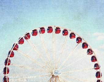 Nursery wall art, carnival photo, red ferris wheel, blue sky , kids wall art, childrens wall art, nursery decor, whimsical nursery art