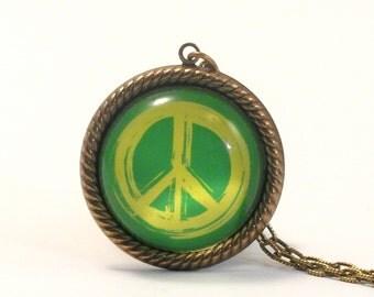 Peace Rally Green Peace Symbol Pendant Necklace