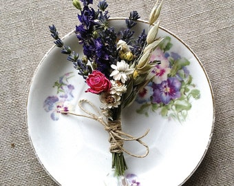 Spring Meadow Wedding Boutonniere or Corsage of Lavender Larkspur Oats and Dried Flowers