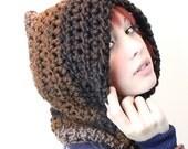 The Fishermans Hood cowl unisex winter scarf vegan Rasta Love wood black brown taupe