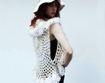 Boho crochet sweater shrug coachella bolero shawl ruffle vest white Swan ivory