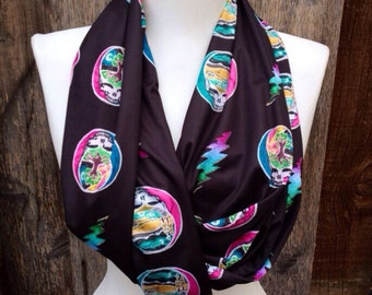 Grateful Dead Infinity Scarf, Scarves, Batik Scarf, Hippie Scarf, Steal Your Face Scarf & Lightning Bolt, Knit Jersey