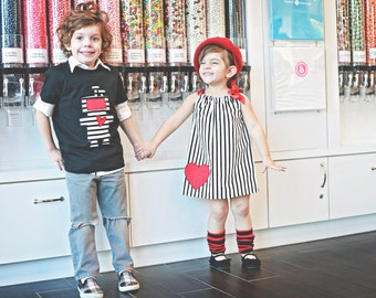 Boys or Girls Valentine's Day ROBOT with a HEART - Shirt or Baby Bodysuit - Sizes to fit big Kids, Toddlers and Infants - Great Gift Idea