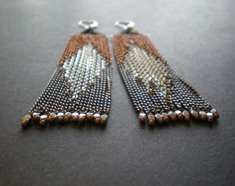 Navajo Motif Earrings - Native American Pattern - Geometric Shapes Made from Mixed Color Metal Chain - Boho Style - Unique Western Design