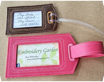 In the Hoop Luggage Tags Set Machine Embroidery Files Instant Download