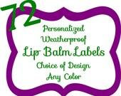72 Personalized Chevron Lip Balm Labels Multiple Color Choices