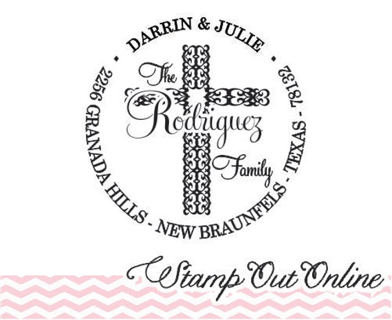 Round Return Address Rubber Stamp Custom address Labels with Cross --2832
