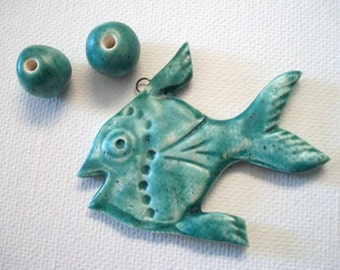 Teal Blue Ceramic Tropical Fish Pendant and Beads