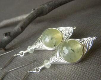 Herringbone Weave Earrings, Sterling Silver, Rutilated Prehnite Gemstone Dangle, Pale Yellow Green Earrings