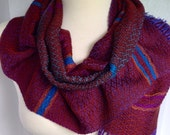 Blue to Purple with Spice Red Handwoven Scarf DBJ20