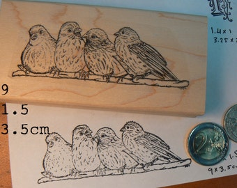 P59 Birds chattering on a branch rubber stamp, hand drawn
