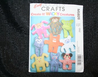 Uncut McCalls 5826 Wacky Creatures Dolls Craft Sewing Pattern,Unique One of a Kind Doll,Creative Doll,Doll Making,Boy/ Girl Dolls, SEWBUSY12