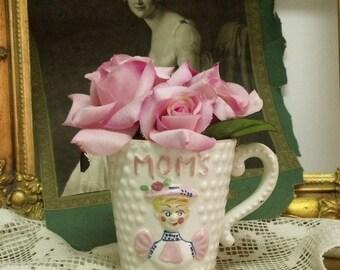 SALE Vintage MOMS mug All textured Pink cup