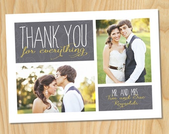 Faded Gray Lace - Thank You For Everything, Wedding Printable Photo Card Collage