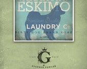 American eskimo eskie laundry company laundry room artwork giclee archival signed artists print Pick A Size