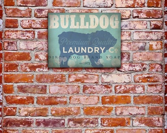 English Bulldog Laundry Company illustration graphic art on canvas by stephen fowler