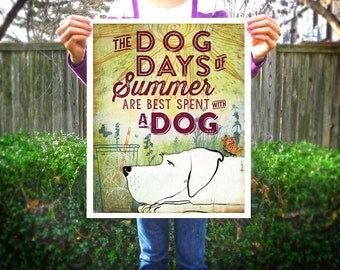 Dog days of summer dog art illustration In Awe of Paws® graphic art print by stephen fowler