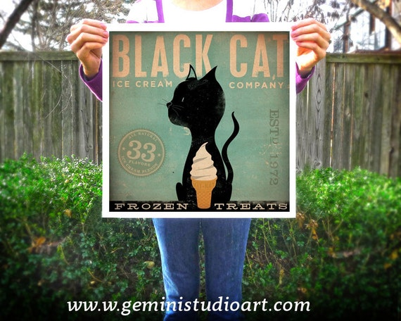 Black Cat Ice Cream Company original graphic art giclee archival signed artist's print by Stephen Fowler