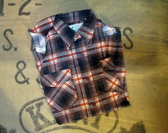 70s Vintage Flannel shirt Falling leaves Deadstock brown shadow plaid Flannel shirt S M