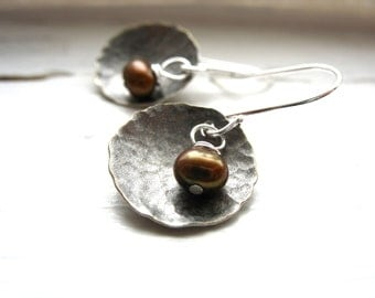 Pearl Earrings, Freshwater Pearl Dome Earrings, Copper Pearl Oxidized Hammered Silver Dome Earrings