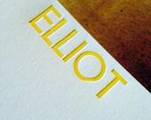 25 Letterpress printed custom note cards w/envelopes-UPPERCASE
