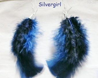 1 PR Fluffy Navy Blue Feather Earrings Silver Plate
