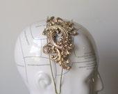 Elegant bridal brass headband vintage Parisian head piece wedding hair accessory antique French style glamour