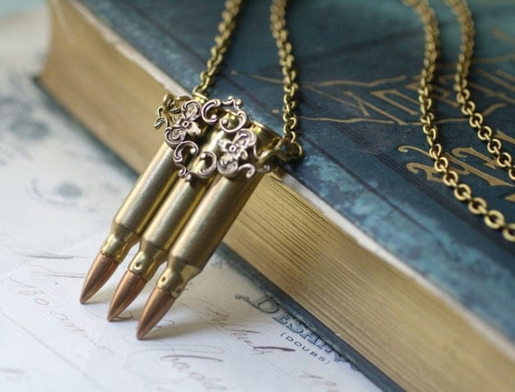Bullet necklace steampunk brass filigree vintage victorian long