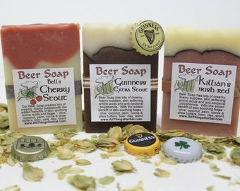 Trio of Beer Soaps - Guinness, Bell's Cherry Stout and Killian's Irish Red - a Perfect Gift for the Beer Lover, Father's Day